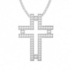 Pendentif croix diamant rond serti pavé 0.25ct