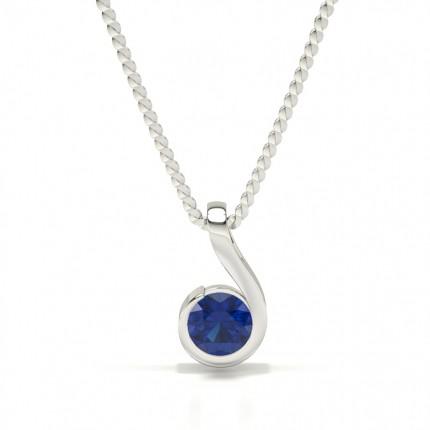 Semi Bezel Blue Sapphire Solitaire Pendant