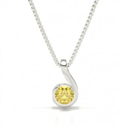 Semi Bezel Yellow Diamond Solitaire Pendant