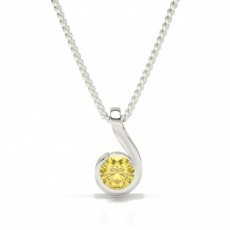 Semi Bezel Yellow Diamond Solitaire Pendant