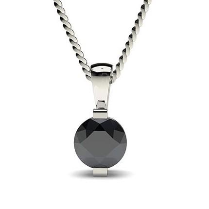 Bar Setting Classic Solitaire Black Diamond Pendant