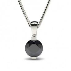 Klassischer Solitar Schwarze Diamant Anhänger in einer Balkenfassung