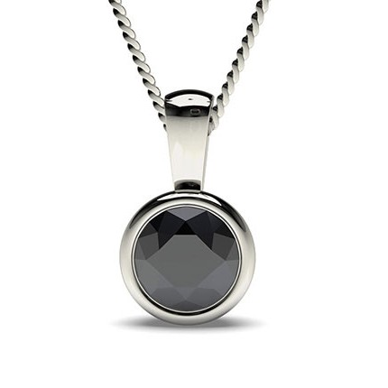 Buy full bezel setting classic solitaire black diamond pendant full bezel setting classic solitaire black diamond pendant aloadofball Image collections