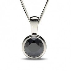 Full Bezel Setting Classic Solitaire Black Diamond Pendant