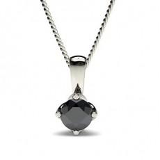 Pendentif solitaire diamant noir rond serti 4 griffes