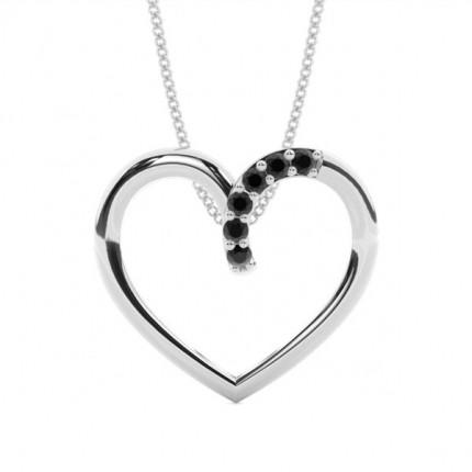 Prong Setting Black Diamond Heart Pendant