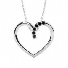 Prong Setting Black Diamond Heart Pendant