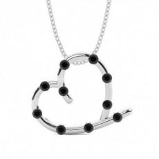 Pendentif cœur diamant noir rond serti barette 0.35ct