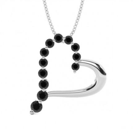 2 Prong Setting Black Diamond Heart Pendant
