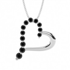 2 Prong Setting Black Diamond Heart Pendant