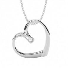 Pendentif cœur diamant rond serti pavé 0.064ct