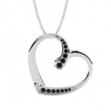 Pave Setting Black Diamond Heart Pendant