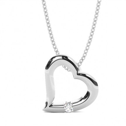 Channel Setting Round Diamond Heart Pendant