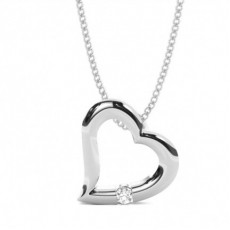Channel Setting Round Diamond Heart Pendant