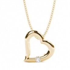 Round Yellow Gold Heart Pendants