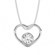 Round White Gold Heart Pendants