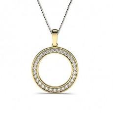 Round Yellow Gold Circle Pendants