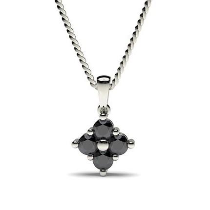 Prong Setting Black Diamond Cluster Pendant