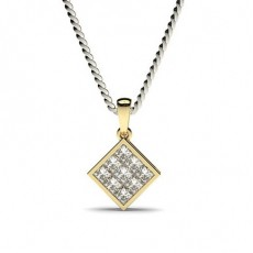 Princess Yellow Gold Cluster Pendants