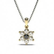 Round Yellow Gold Black Diamond Pendants