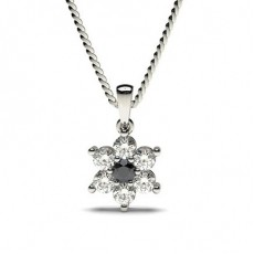 Prong Setting Black Diamond Cluster Pendant