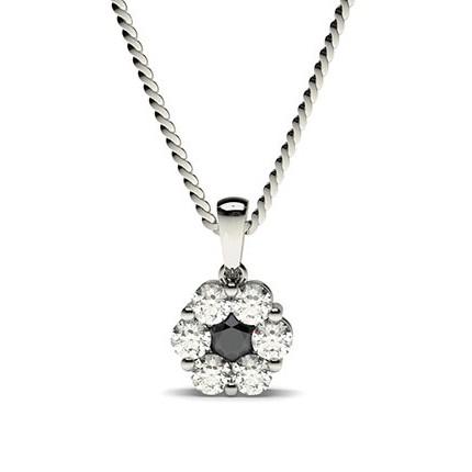 Pressure Setting Black Diamond Cluster Pendant