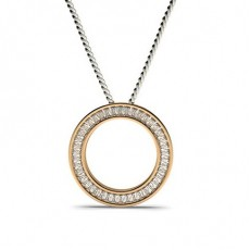 Baguette Rose Gold Circle Pendants