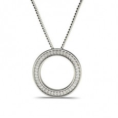 Baguette White Gold Circle Pendants