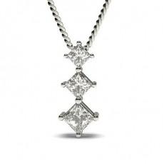 4 Prong Setting Princess Diamond Journey Pendant