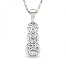 Semi Bezel Setting Round Diamond Journey Pendant