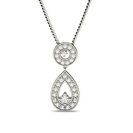 4 Prong Setting Round Diamond Drop Pendant