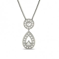 4 Prong Setting Round Diamond Drop Pendant