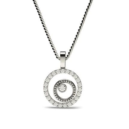 0.20ct. Full Bezel & Prong Setting Round Diamond Delicate Pendant