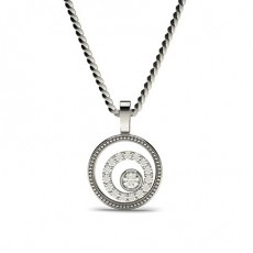 0.15ct. Full Bezel & Pave Setting Round Diamond Delicate Pendant