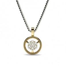 Round Yellow Gold Delicate Diamond Pendants