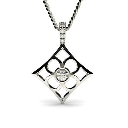 0.15ct. Full Bezel & 4 Prong Setting Round Diamond Delicate Pendant