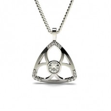 0.35ct. Full Bezel & Prong Setting Round Diamond Delicate Pendant