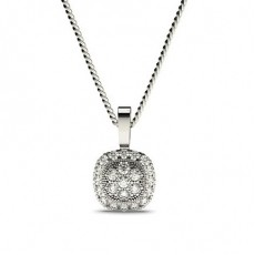 Pendentif illusion diamant rond serti pavé 0.25ct