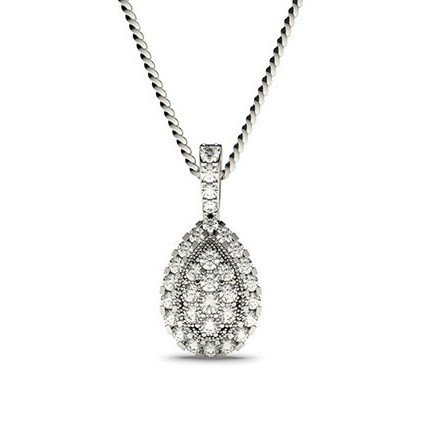 4 Prong & Pave Setting Round Diamond Cluster Pendant
