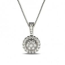 Pendentif illusion diamant rond serti pavé 0.35ct