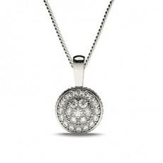 Pendentif illusion diamant rond serti pavé 0.50ct