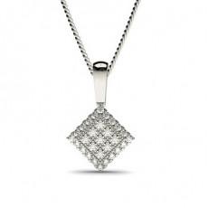 Runder Diamant Cluster Anhänger in einer Pavefassung