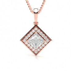 Princess Rose Gold Halo Pendants