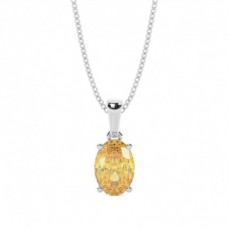 4 Prong Set Yellow Diamond Solitaire Pendant