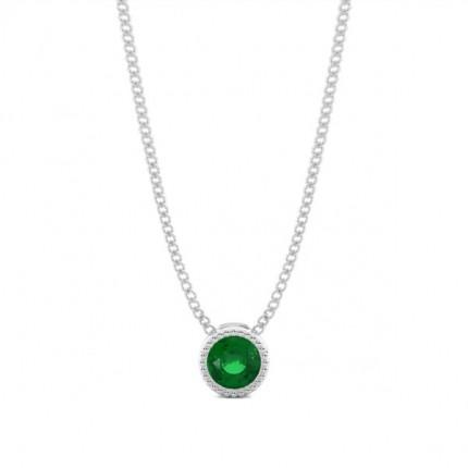 Full Bezel Setting Round Emerald Solitaire Pendant