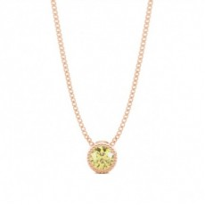 Round Rose Gold Yellow Diamond Pendants