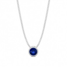 Full Bezel Setting Round Blue Sapphire Solitaire Pendant