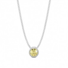 Round Yellow Diamond Pendants