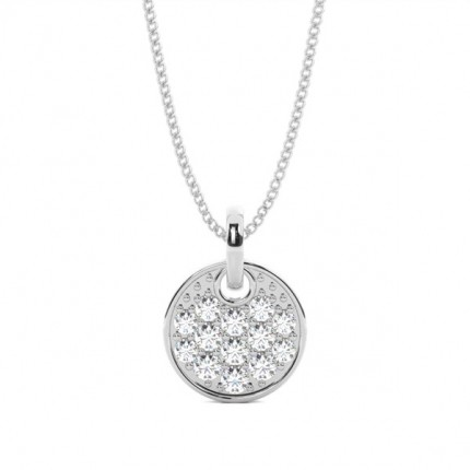 Pave Setting Round Diamond Heart Pendant