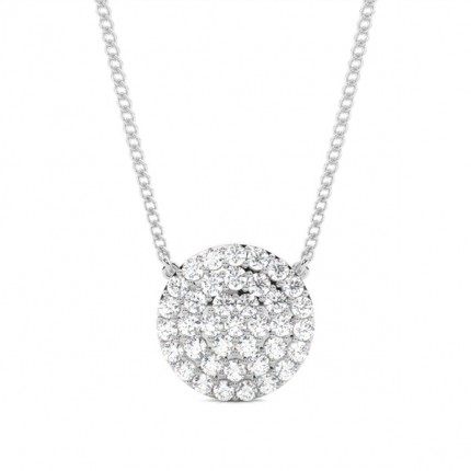 4 Prong Setting Round Diamond Cluster Pendant